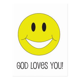 Smile God Loves You Postcard Christian Encouraging