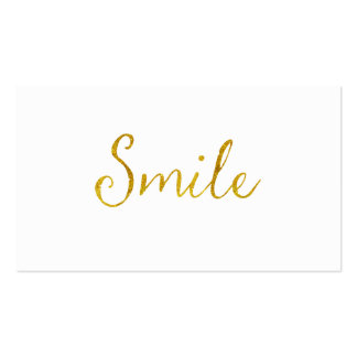 Smile Gold Faux Glitter Metallic Sequins Quote Business Card