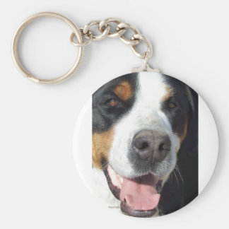 Smile! Greater Swiss Mountain Dog Basic Round Button Keychain