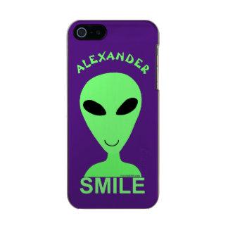 Smile Happy Alien LGM Geek Humor ifoneSE Metallic iPhone SE/5/5s Case