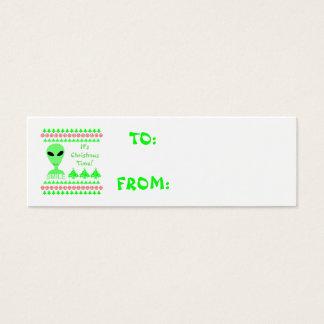 Smile Happy Alien LGM Geek Humor Little Green Man Mini Business Card