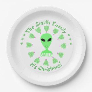 Smile Happy Alien LGM Geek Humor Little Green Man Paper Plate