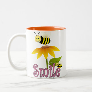 Smile Happy Bees Two-Tone Coffee Mug