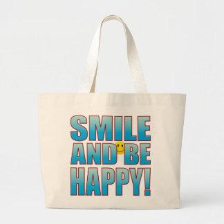 Smile Happy Life B Large Tote Bag