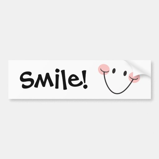 Smile! happy smiley face bumper stickers