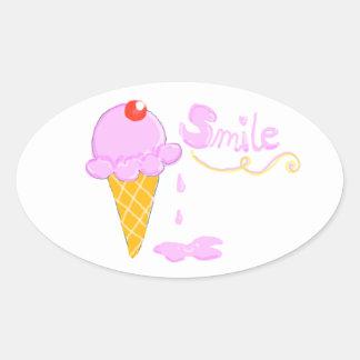Smile Ice Cream Oval Sticker