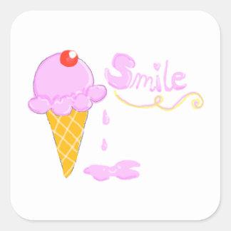 Smile Ice Cream Square Sticker