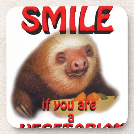 smile if you are vegetarian beverage coaster