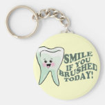 Smile If You Brushed Today Basic Round Button Keychain
