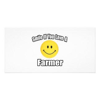Smile If You Love a Farmer Customized Photo Card