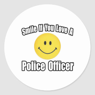 Smile If You Love a Police Officer Classic Round Sticker