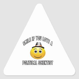 smile if you love a Political scientist. Triangle Sticker