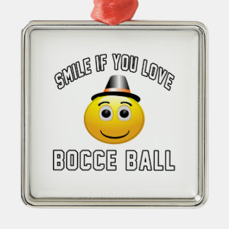 Smile if you love Bocce Ball. Square Metal Christmas Ornament