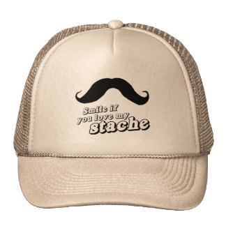 Smile if you love my stache mesh hat
