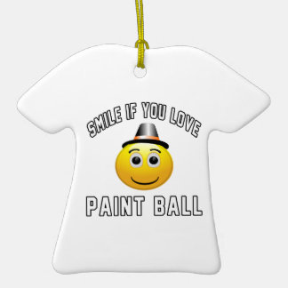 Smile if you love Paint Ball. Double-Sided T-Shirt Ceramic Christmas Ornament