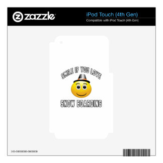 Smile if you love Snow Boarding. Skin For iPod Touch 4G