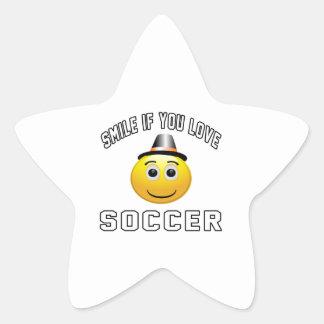 Smile if you love Soccer. Star Sticker