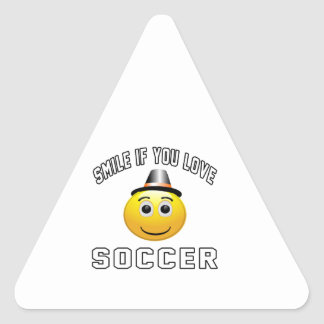 Smile if you love Soccer. Triangle Sticker