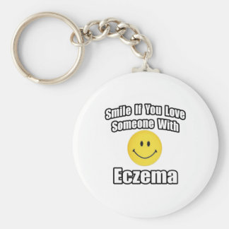 Smile If You Love Someone With Eczema Basic Round Button Keychain