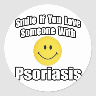 Smile If You Love Someone With Psoriasis Classic Round Sticker