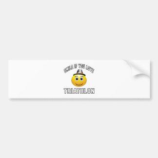 Smile if you love Triathlon. Bumper Sticker