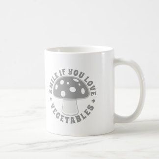 Smile If You Love Vegetables - Eat Mushrooms! Gray Coffee Mug