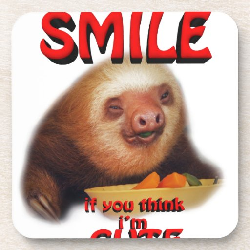 smile if you think i'm cute. coaster