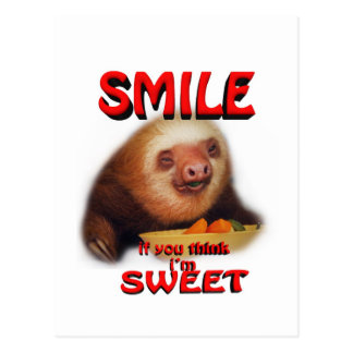 smile if you think i'm sweet postcard