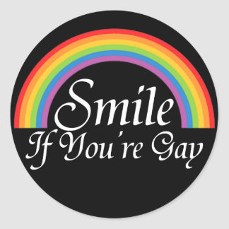 Smile if you're gay classic round sticker