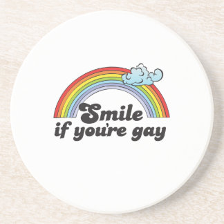 Smile if you're gay T-shirt Sandstone Coaster