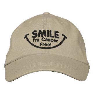 Smile I'm Cancer Free!  Hat Embroidered Baseball Cap
