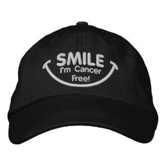 Smile I'm Cancer Free White Baseball Cap