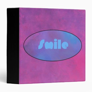 Smile in a blue oval on a pink background binder