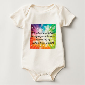 Smile Inspirational Happy Quote Star Rainbow Baby Bodysuit