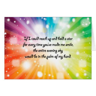 Smile Inspirational Happy Quote Star Rainbow Card
