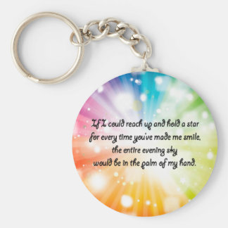Smile Inspirational Happy Quote Star Rainbow Keychain