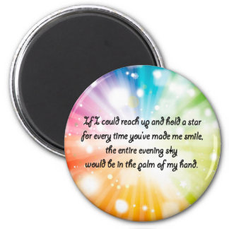 Smile Inspirational Happy Quote Star Rainbow Magnet