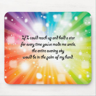 Smile Inspirational Happy Quote Star Rainbow Mouse Pad