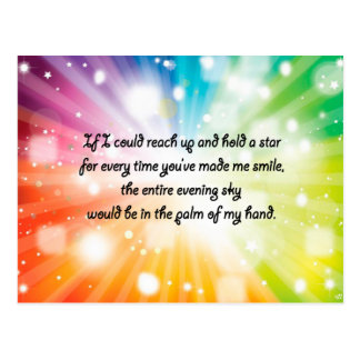 Smile Inspirational Happy Quote Star Rainbow Postcard
