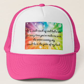 Smile Inspirational Happy Quote Star Rainbow Trucker Hat