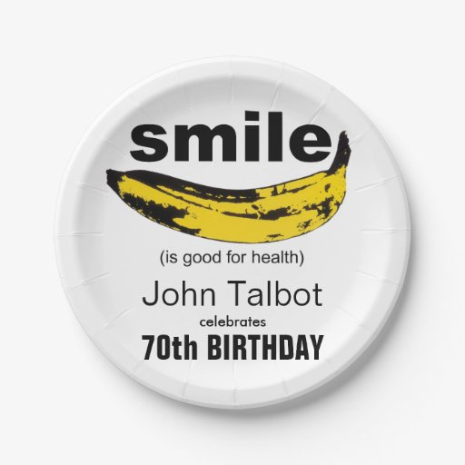 Smile is good - 70th Birthday Party Paper Plates 7 Inch Paper Plate