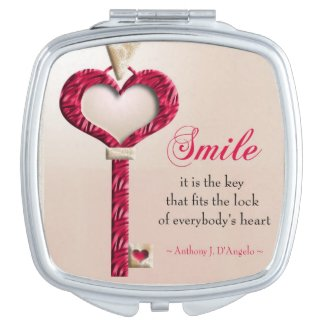 Smile Is The Key Motivational Quote Makeup Mirror