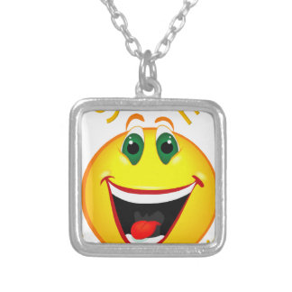 Smile! It's Easier than Frowning Silver Plated Necklace