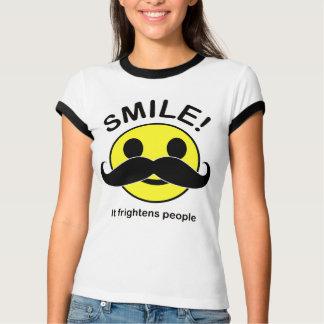 Smile it scares people mustach ladies ringer shirt