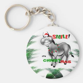 Smile its Christmas Funny Donkey Keychain