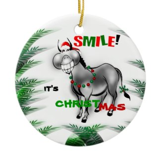 Smile It's Christmas Cute Donkey Christmas Ornament