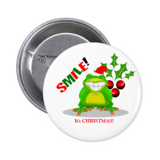SMILE Its Christmas Happy Smiling Xmas Frog Button