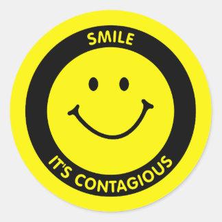 SMILE IT'S CONTAGIOUS CLASSIC ROUND STICKER
