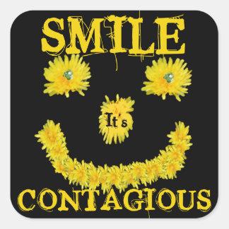 Smile it's Contagious Dandelion Square Sticker