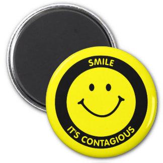 SMILE IT'S CONTAGIOUS FRIDGE MAGNET